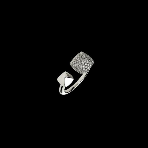 Anello PIRAMIDI in oro bianco 18 carati e diamanti bianchi taglio brillante