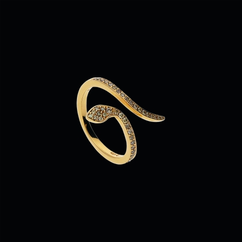 Serpente - Anello in oro rosa 18 carati e diamanti brown taglio brillante