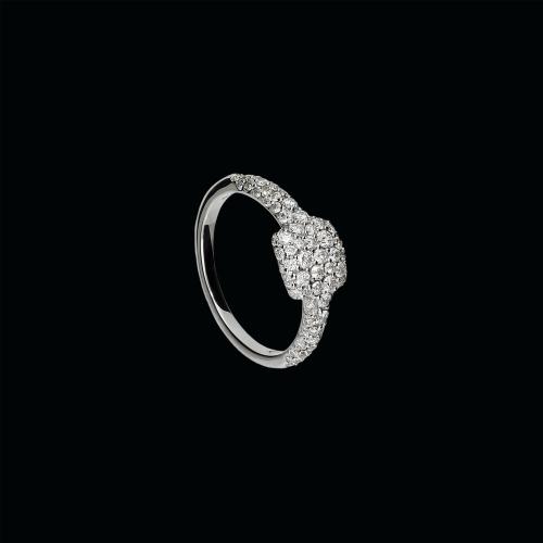 Anello in oro bianco 18 carati e diamanti bianchi taglio brillante