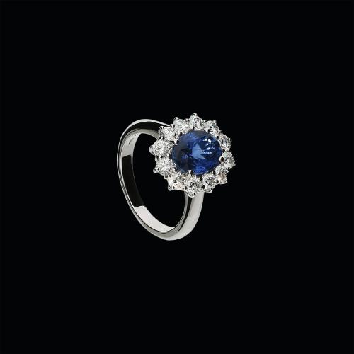 Anello in oro bianco 18 carati,zaffiro blu naturale e diamanti bianchi taglio brillante