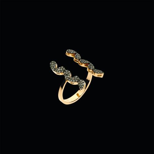 Anello in oro rosa 18 carati e diamanti grigi taglio brillante