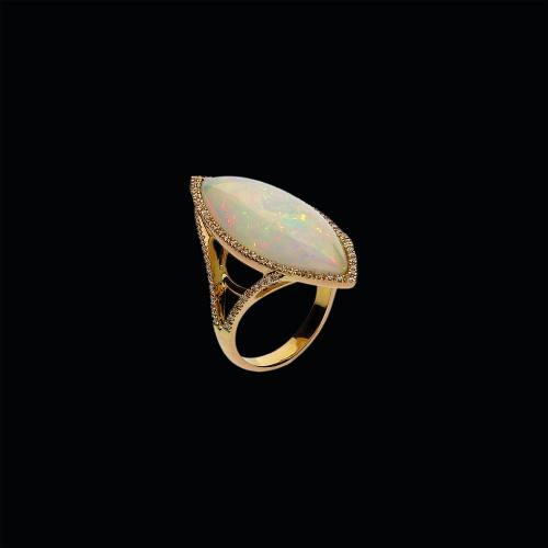 Anello in oro rosa 18 carati,diamanti bianchi e opale
