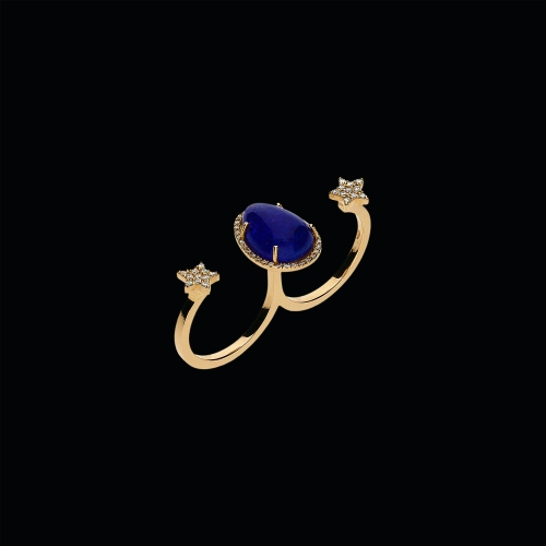 Anello in oro rosa 18 carati,diamanti bianchi e tanzanite naturale
