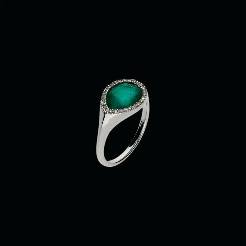 Anello in oro bianco 18 carati,smeraldo,cristallo di rocca e diamanti taglio brillante