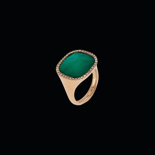 Anello in oro rosa 18 carati,smeraldo,cristallo di rocca e diamanti bianchi taglio brillante