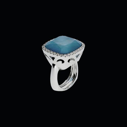 Anello in oro bianco 18 carati,acquamarina,cristallo di rocca e diamanti bianchi taglio brillante