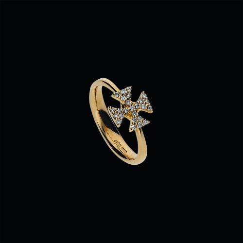 Croce - Anello in oro rosa 18 carati e diamnti bianchi taglio brillante