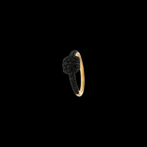 Anello in oro rosa 18 carati e diamanti neri taglio brillante