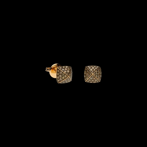 Orecchini in oro rosa 18 carati e diamanti brown taglio brillante