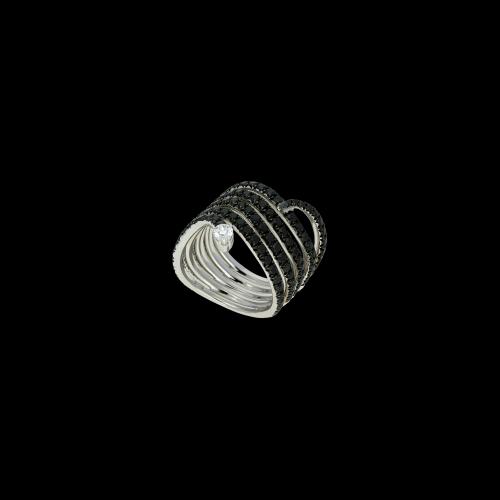 Anello serpente in oro bianco 18 carati con diamante bianco e neri