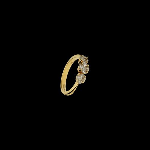 Anello in oro rosa 18 carati con diamanti bianchi taglio brillante e diamanti bianchi taglio marquise