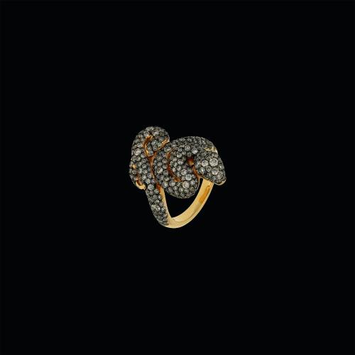 Anello serpente in oro rosa 18 carati con diamanti brown