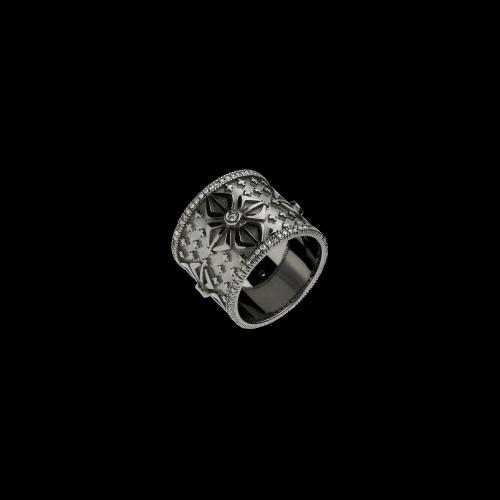 Anello in oro brunito 9 carati con diamanti bianchi taglio brillante