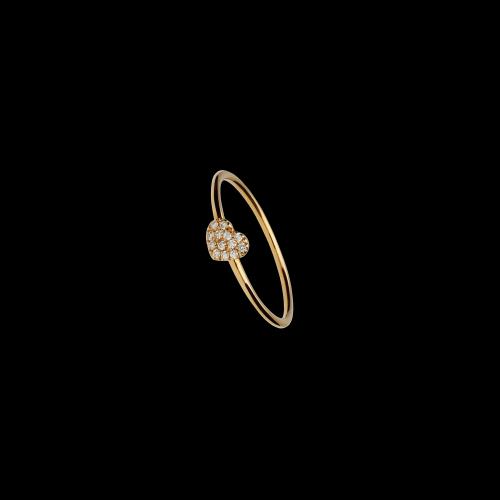 Cuore - Anello in oro rosa 18 carati e diamanti bianchi taglio brillante