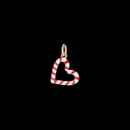 DODO CHRISTMAS - CANDY CANE HEART - Ciondolo in oro rosa 9 kt e smalto rosso e bianco - DMCANDYHEART/9/K