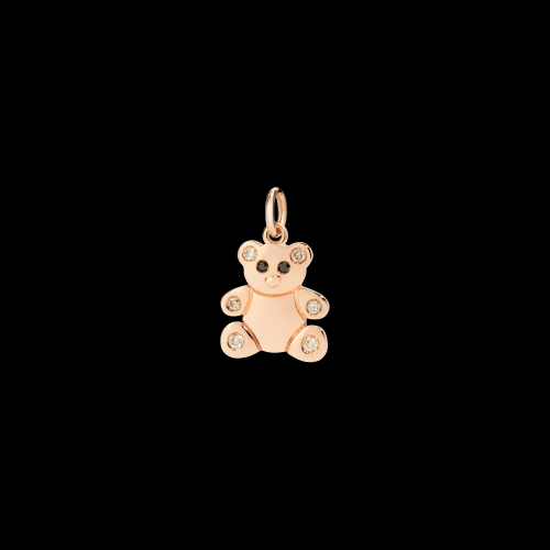 DODO CHRISTMAS - TEDDY BEAR - Ciondolo in oro rosa 9 kt con diamanti black e brown - DMORSO/9/BBBR/K