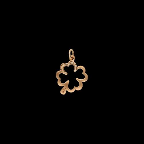 DODO SILHOUETTE - Quadrifoglio - Ciondolo in oro rosa 9 carati matt e diamanti brown taglio brillante - DMQDT/9/BR/K