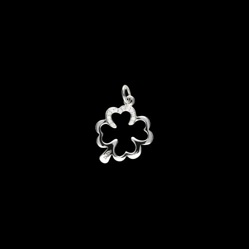 DODO SILHOUETTE -  Quadrifoglio - Ciondolo in oro bianco 9 carati rodiato e diamanti bianchi taglio brillante - DMQDT/9B/B/K