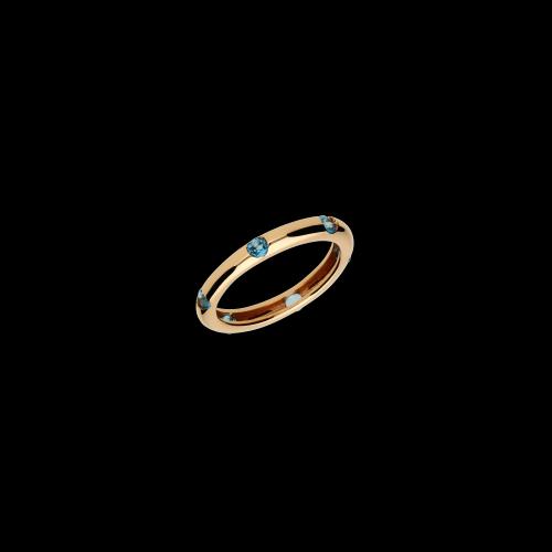 Anello in oro rosa 9 carati e topazi azzurri taglio brillante