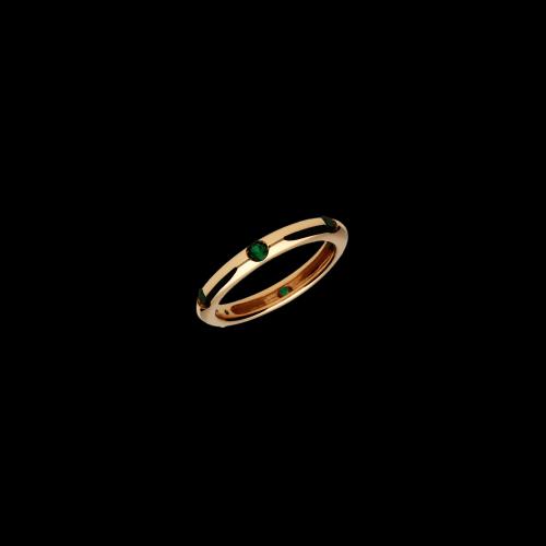 Anello in oro rosa 9 carati e quarzo verde taglio brillante