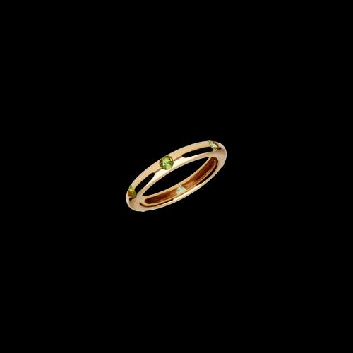 Anello in oro rosa 9 carati e peridoto taglio brillante