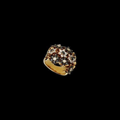 Anello in oro rosa 18 carati con diamanti bianchi e diamanti neri taglio brillante