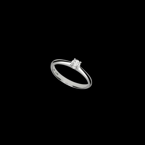 Anello in oro bianco 18 carati con diamante bianco taglio brillante
