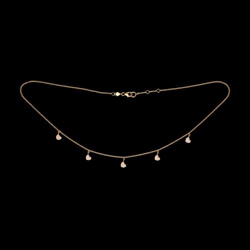 Cuori - Collana in oro rosa 18 carati e diamanti bianchi taglio brillante