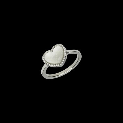 Anello in oro bianco 18 carati con cuore in madreperla e diamanti bianchi taglio brillante