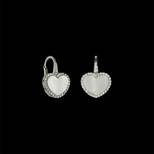 Orecchini in oro bianco 18 carati con cuore in madreperla e diamanti bianchi taglio brillante