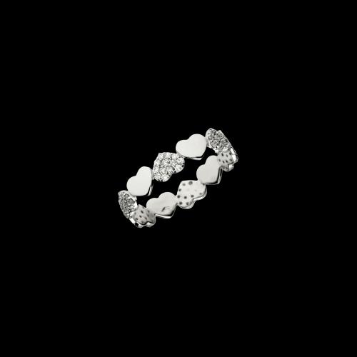 Anello in oro bianco 18 carati con cuori in diamanti taglio brillante