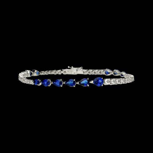 Bracciale in oro bianco 18 carati con zaffiri blu taglio goccia e diamanti bianchi taglio brillante