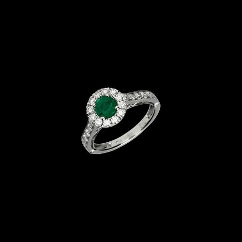 Anello in oro bianco 18 carati con diamanti taglio brillante e smeraldo taglio tondo