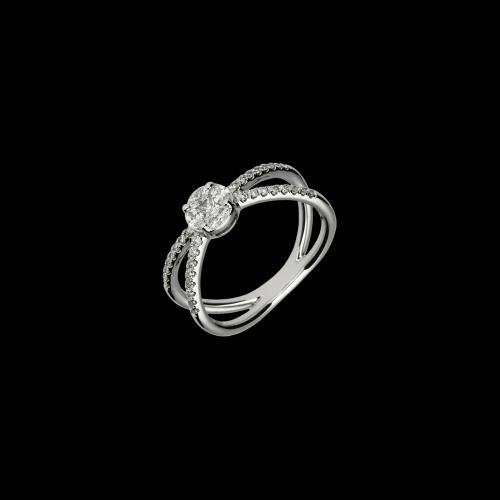 Anello in oro bianco con diamanti taglio brillante, navette e princess