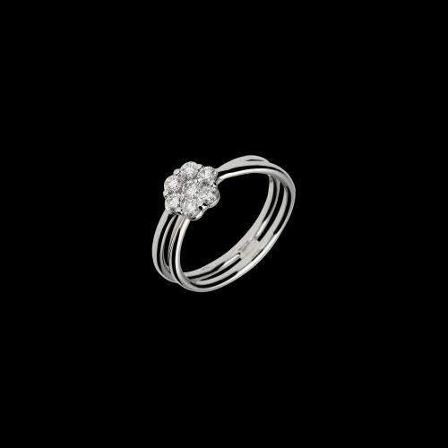 Anello in oro bianco 18 carati con diamanti bianchi taglio brillante