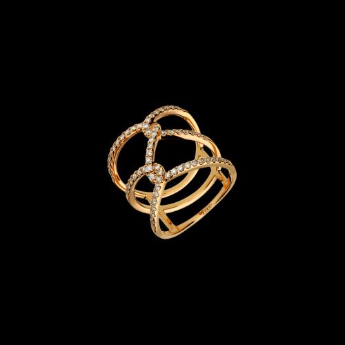 Anello in oro rosa 18 carati con diamanti bianchi taglio brillante
