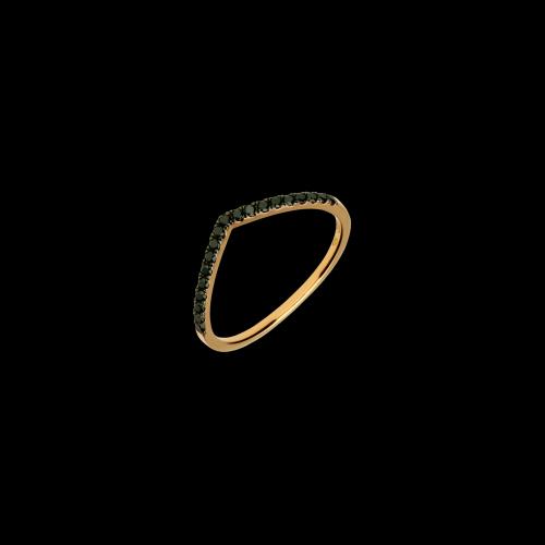 Anello in oro rosa 18 carati con diamanti neri taglio brillante