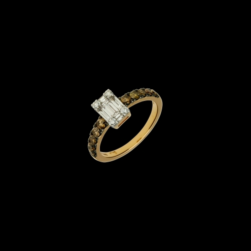 Anello in oro rosa 18 carati con diamanti brown taglio brillante e diamanti bianchi taglio brillante e baguette