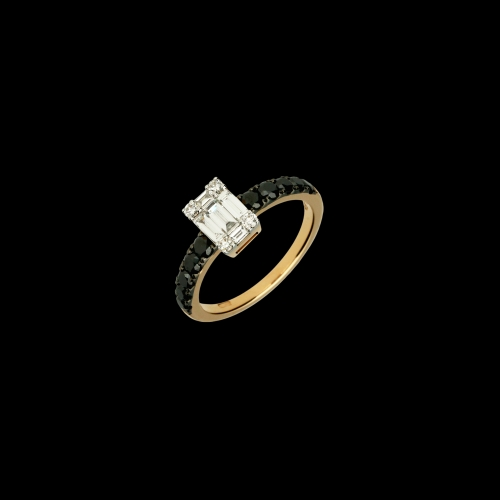 Anello in oro rosa 18 carati con diamanti neri taglio brillante e diamanti bianchi taglio brillante e baguette