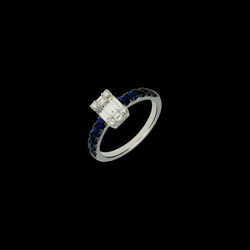 Anello in oro bianco 18 carati con zaffiri blu taglio brillante e diamanti bianchi taglio brillante e baguette