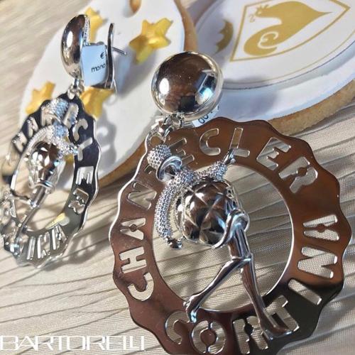 CHANTECLER LOGO - Orecchino singolo grande Madame Clochette in argento logo Cortina - 37959
