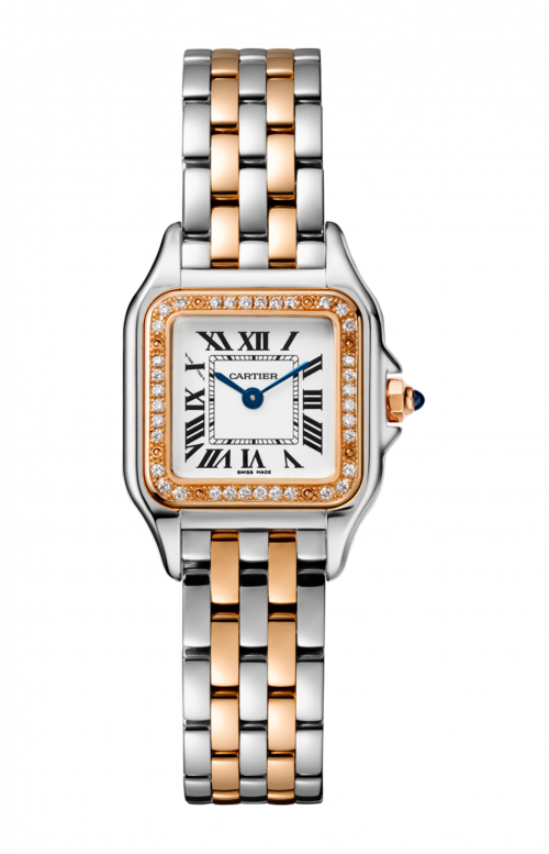 PANTHÈRE DE CARTIER WATCH SMALL MODEL, PINK GOLD AND STEEL, DIAMONDS - W3PN0006