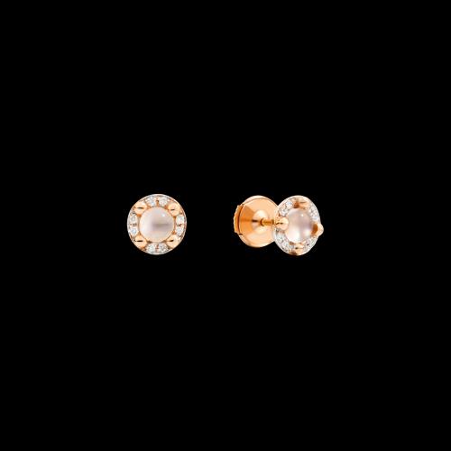 ORECCHINI M'AMA NON M'AMA - Orecchini in oro rosa 18K, 2 adularie 0.84 ct, 16 diamanti 0.09 ct - O.B807/B9O7/AD