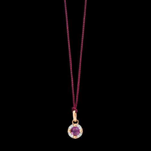PENDENTE SENZA CATENA M'AMA NON M'AMA - Pendente in oro rosa 18K, 1 ametista 0.44 ct, 8 diamanti 0.05 ct - M.B807/B9O7/OI