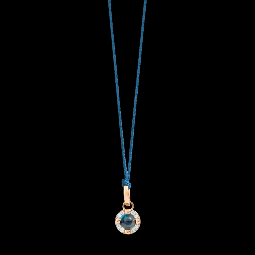 PENDENTE SENZA CATENA M'AMA NON M'AMA - Pendente in oro rosa 18K, 1 topazio blu London 0.58 ct, 8 diamanti 0.05 ct - M.B807/B9O7/OY
