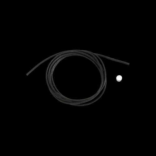 DODO CORDINI - CORDINO SPESSO - Cordino nero spesso con sigillo in argento - DC.SIG/A/NE3/K