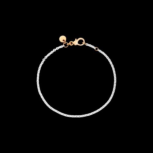 DOD FOLLOW YOUR DREAMS - BRACCIALE IN ARGENTO BIANCO - Bracciale in argento laccato bianco con chiusura e placchetta in oro rosa 9kt - DB/ABI/9/K
