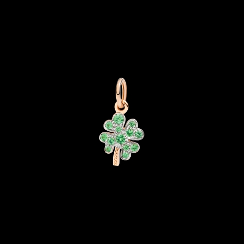 DODO FOLLOW YOUR DREAMS - QUADRIFOGLIO - Ciondolo in oro rosa 9kt e tsavorite - DMQDP/9/TZC/K
