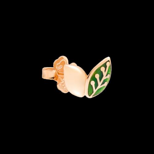 DODO FOLLOW YOUR DREAMS - ORECCHINO FOGLIA - Orecchino in oro rosa 9kt e smalto verde trasparente - DOHLEAF/9/VE/K