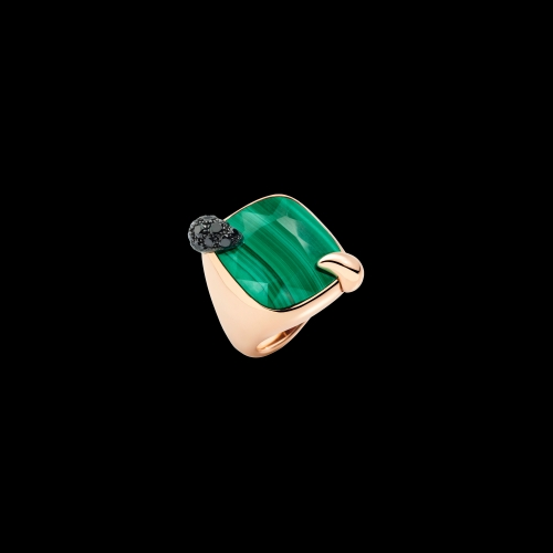 POMELLATO - ANELLO RITRATTO - Anello in oro rosa 18K con 1 malachite 21 ct e 19 diamanti black 0,6 ct. - A.B713MBB7/M